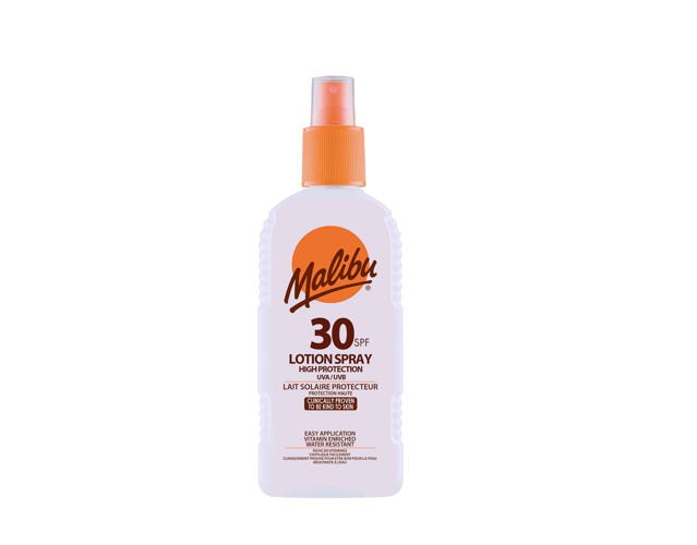 Malibu Sun Lotion 30SPF High protecion Spray, 200ml.